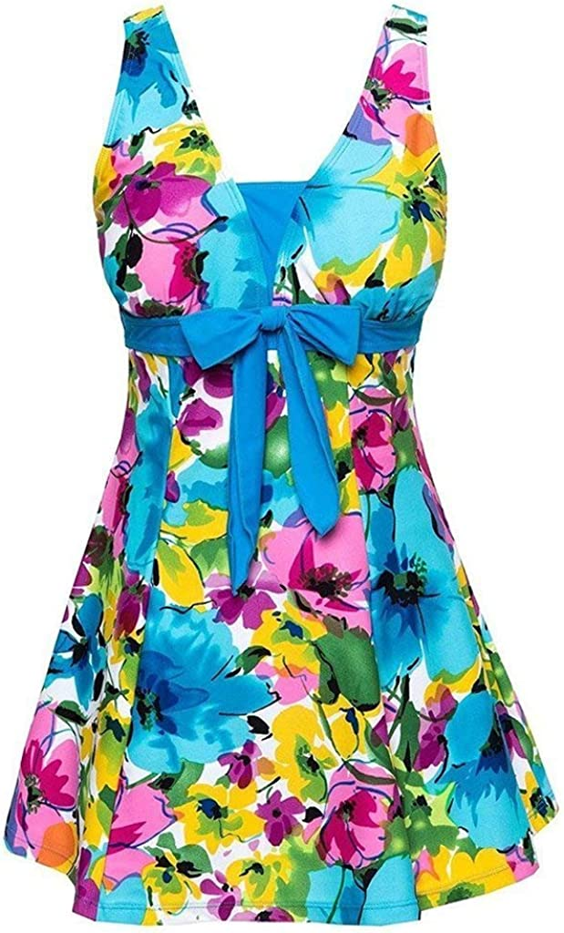 BET/&FIT Womens Plus Size One Piece Swimsuits Floral Printed Swimdress Tummy Control Swimsuits Bathing Suit