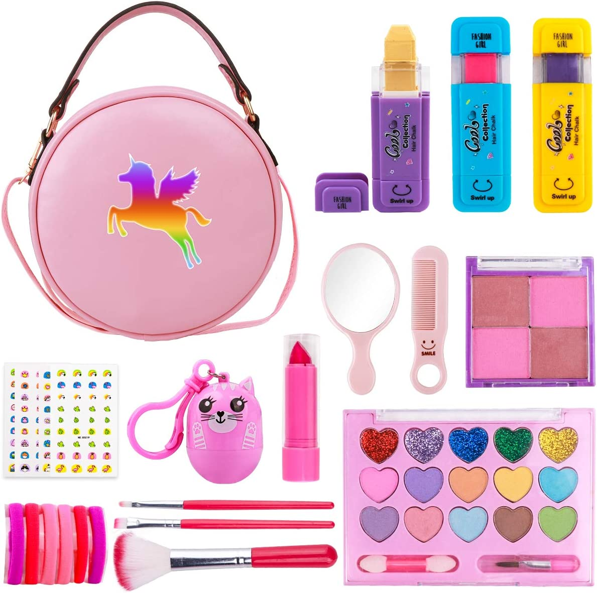Girls Makeup Kit - Real Makeup Palette Set with Purse, Hair Chalks, Lipstick/Blush/Brush - My First Purse Toy Gift for Princess Little Girls Toddlers - Pretend Makeup Set for Girls Birthday Christmas