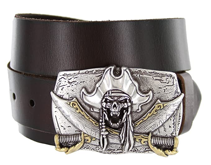 Men's Pirate Jolly Roger Buckle Dark Brown Leather Belt