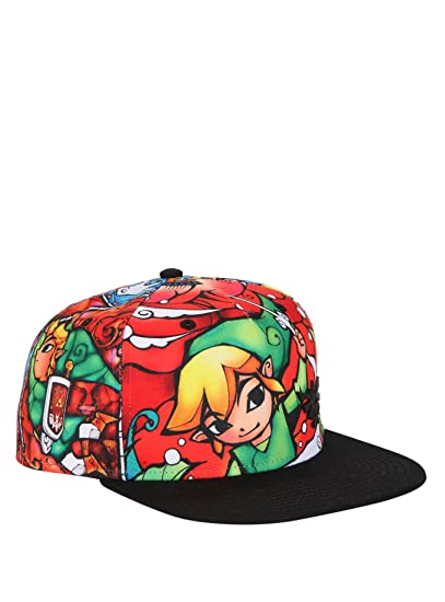 fe6c641e744 Amazon.com  The Legend of Zelda The Wind Waker Stained Glass Sublimation Snapback  Hat  Clothing