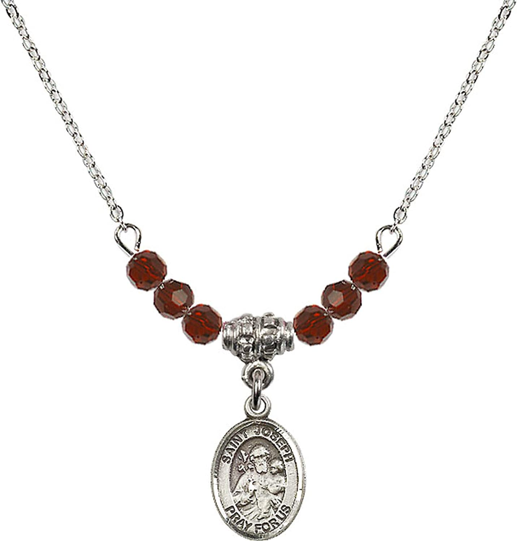 Bonyak Jewelry 18 Inch Rhodium Plated Necklace w// 4mm Red January Birth Month Stone Beads and Saint Joseph Charm