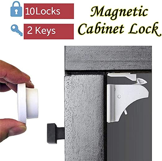 Weisfe78 Child Safety Magnet Locks 10 Pack Best Baby Proofing Lock For Kitchen Cabinet Drawer Cupboard No Tool Or Drill With 3m Adhesive Cabinets Door Locking Magnetic Latches Kit Amazon Ca Home