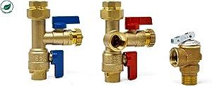 Libra Supply 3/4 inch Lead Free Tankless Water Heater Service Valve Kit with Pressure Relief Valve, FNPT x FNPT, 3/4'' Service Valve for Rheem, Rinnai, Ecosmart, Navien, Noritz, Takagi, Bosch