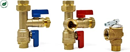 Sweat New Tankless Water Heater Service Valve Kit 3//4in Brass Lead Free