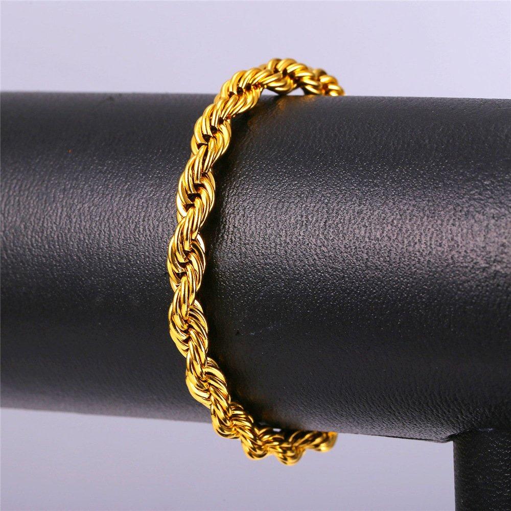 Amazon.com: Brazalete en cadena tipo cuerda con chapa de oro ...