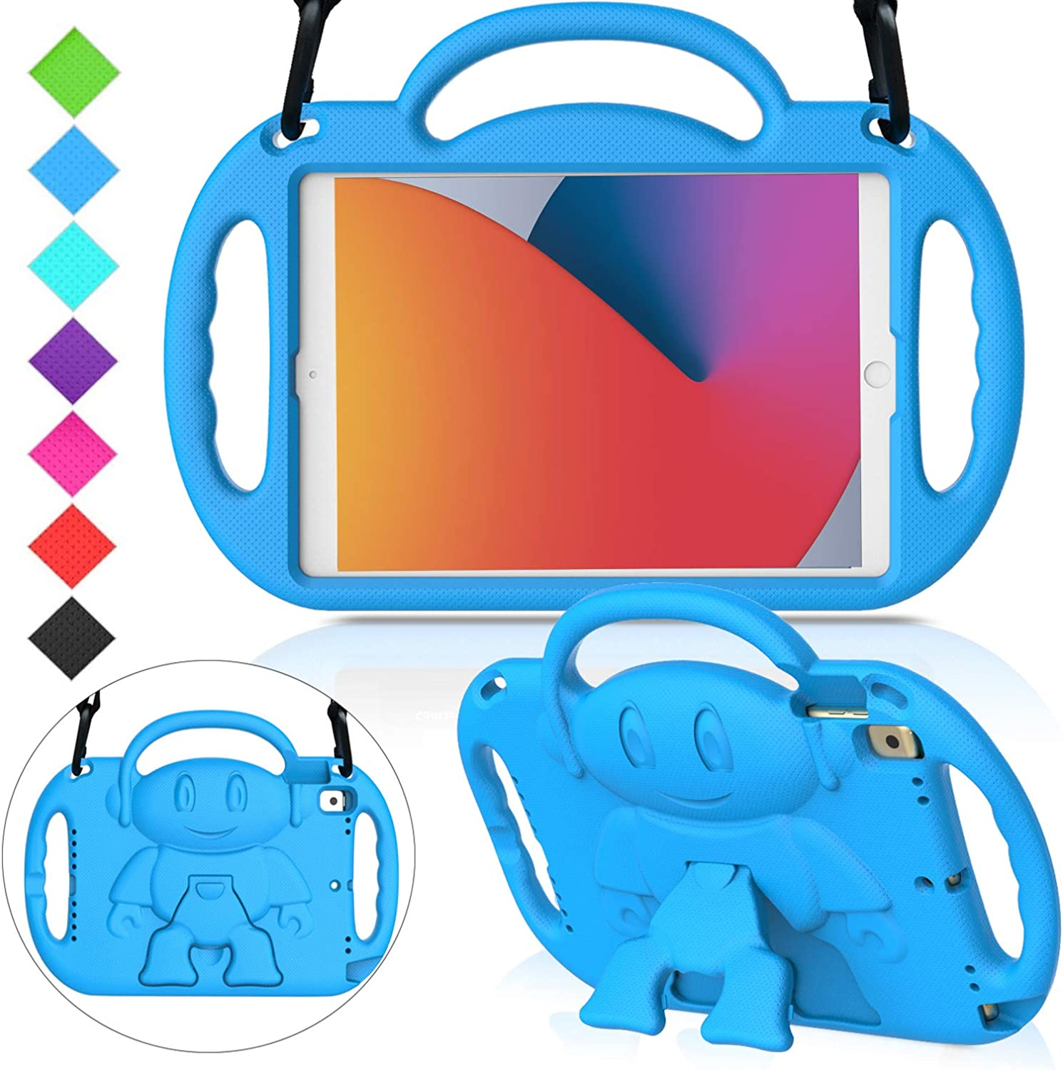 """MENZO Kids Case for New iPad 10.2"""" 8th / 7th Generation 2020 / 2019, Light Weight Shockproof Shoulder Strap Handle Stand Case for New iPad 10.2-Inch 2019 / 2020 Released (Latest Model) - Blue"""