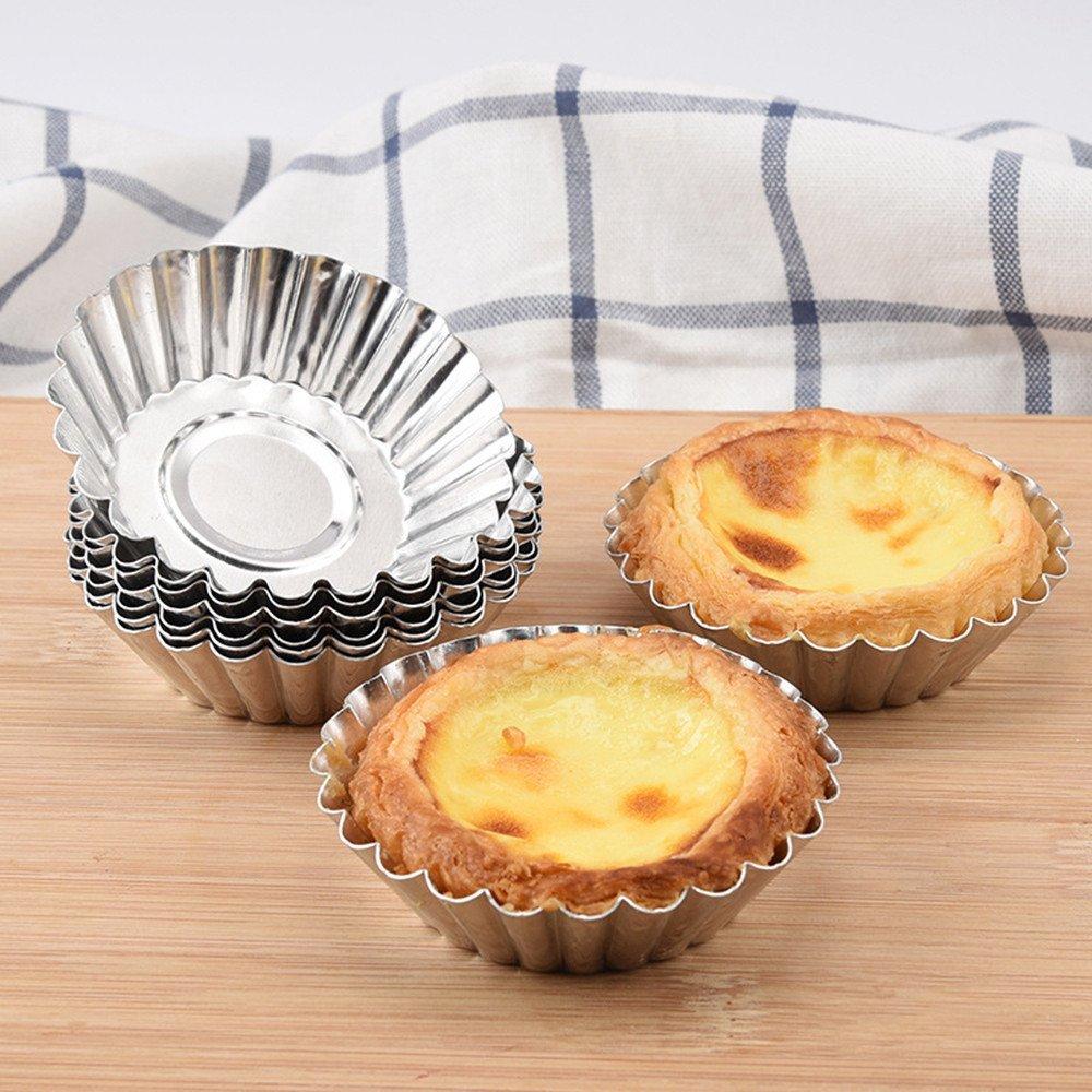 BeautyShe 5pcs Egg Tart Aluminum Cupcake Cake Cookie Mold Lined Mould Tin Baking Tool