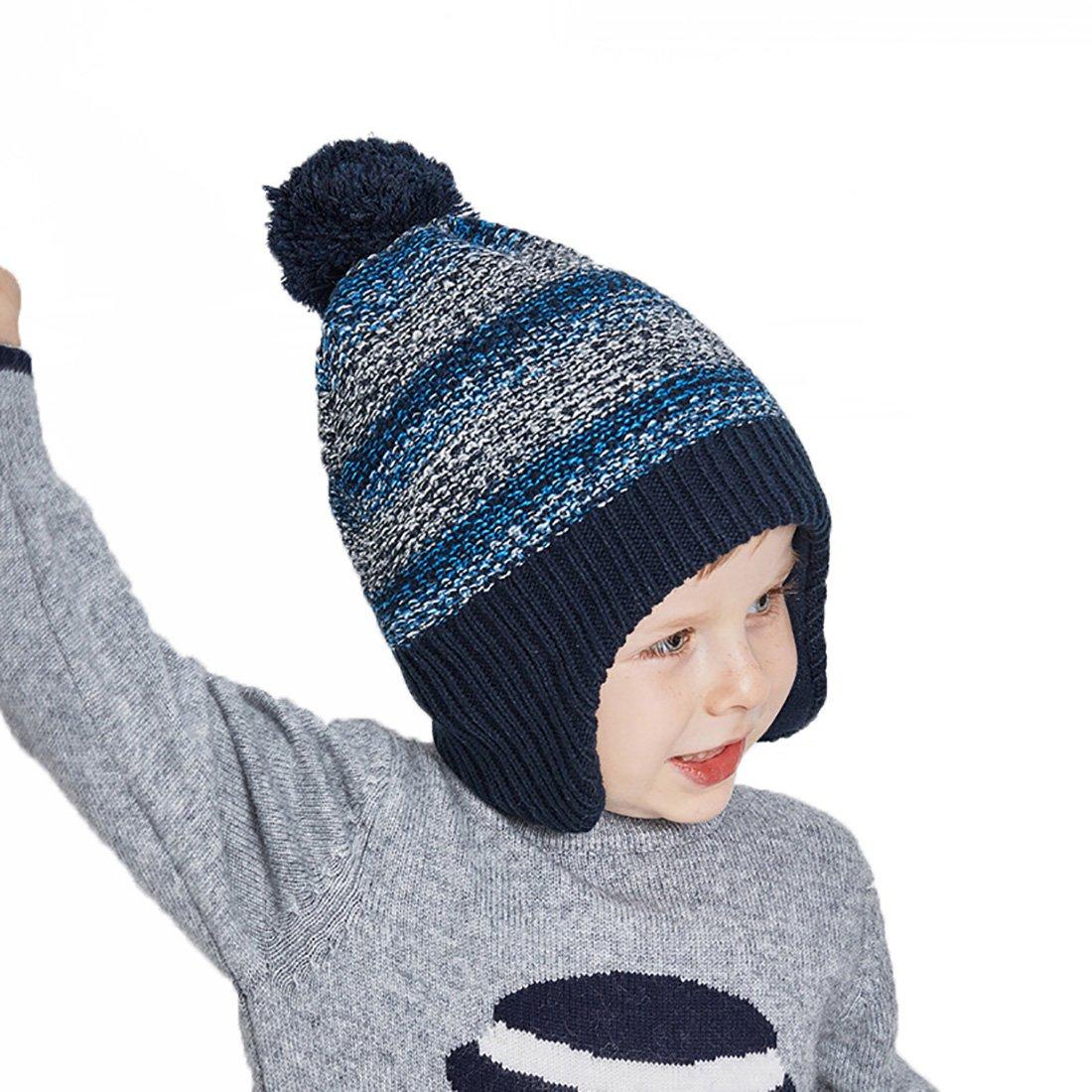 e0fa682c9a7a URSFUR Bébé Garçons Fille Bonnet Cap Tricot à Pompon Fourrure Chapeau  Bonnet Coton à Cache Oreille Enfant Hiver marine  Amazon.fr  Vêtements et  accessoires