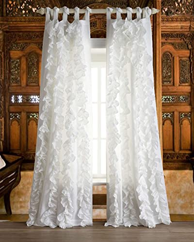 Bu Vertical White Ruffles Faux Silk Living Room Tie Top Unlined Window Curtain Panel 52″ W X 84″ L
