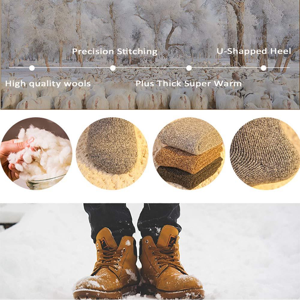 Mens Wool Socks Winter Socks Knitting Soft Warm Thick Cotton Socks for Boots Ski Hiking