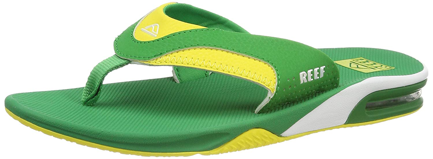 77345dc75adae Amazon.com | Mens Reef Fanning Green Yellow Flip Flops Sandals SIZE 11 |  Shoes