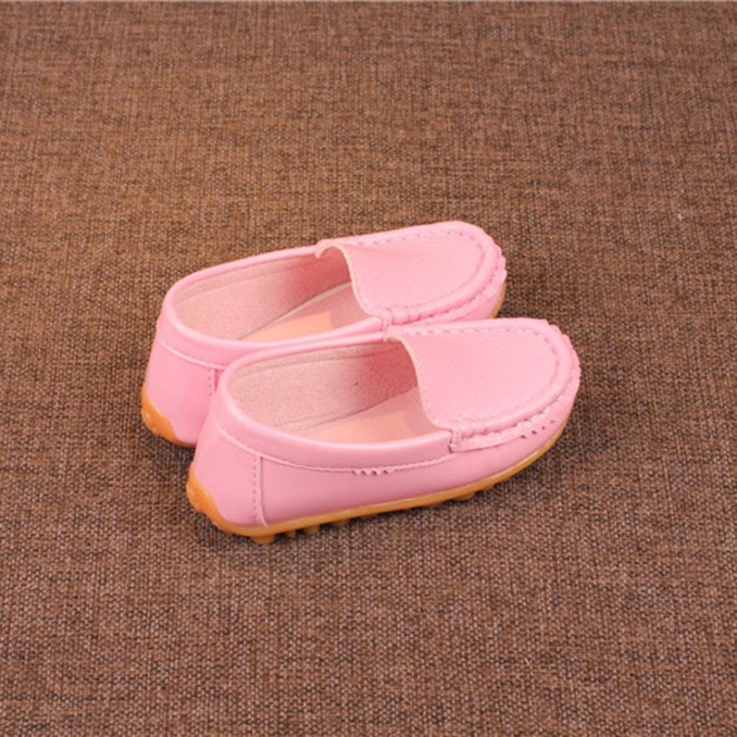 Voberry@ Toddler Kids Boys Girls Soft Leather Loafers Slip On Boat Dress Shoes//Sneakers//Flats Pink