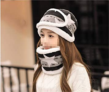e518dc2b8be6d Image Unavailable. Ladies Winter Hat Wool Cap Thicken Keep Warm Korean  Style Ear Protection Bib Mask Set Plus