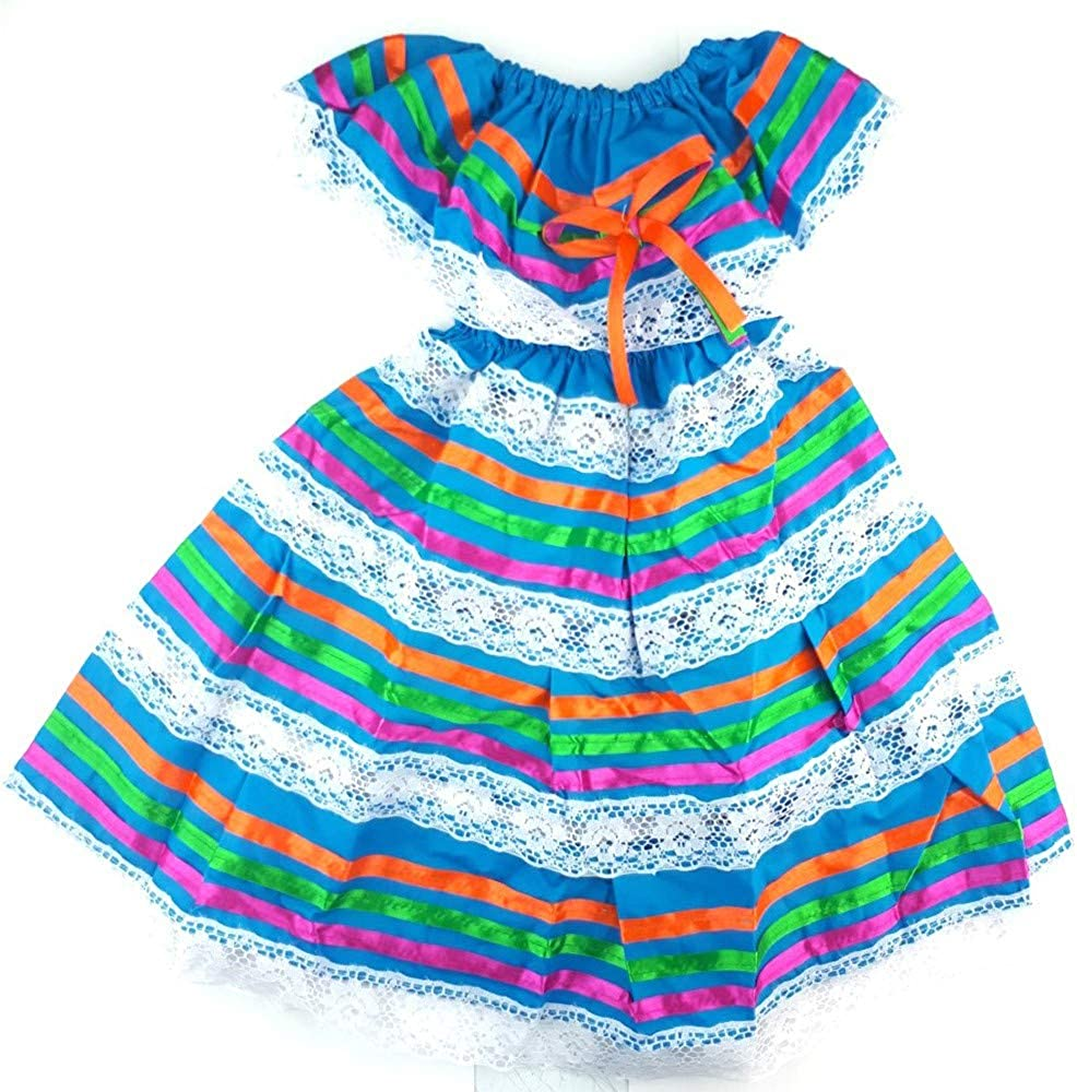 UNKNDW Mexican Dress Child Costume Coco Theme Party, Dress Hippie Size 1 Color Blue, Medium