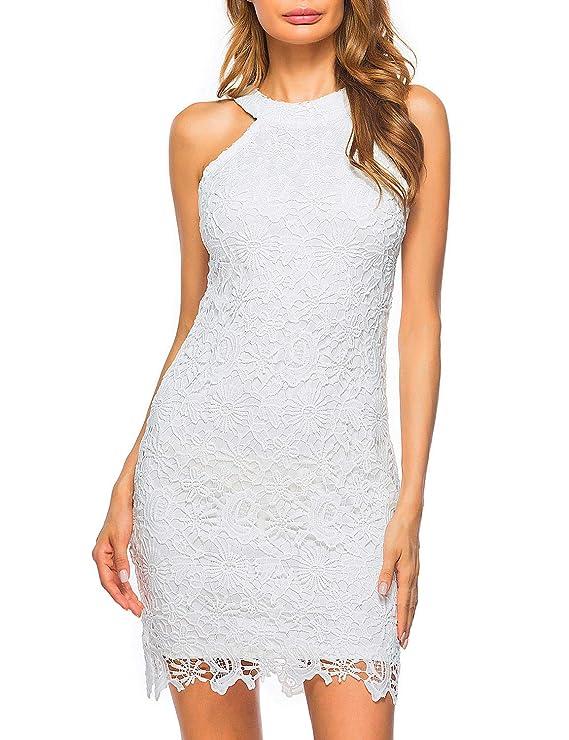 Lamilus Women's Casual Sleeveless Halter Neck Party Lace Mini Dress (X-Large, White)