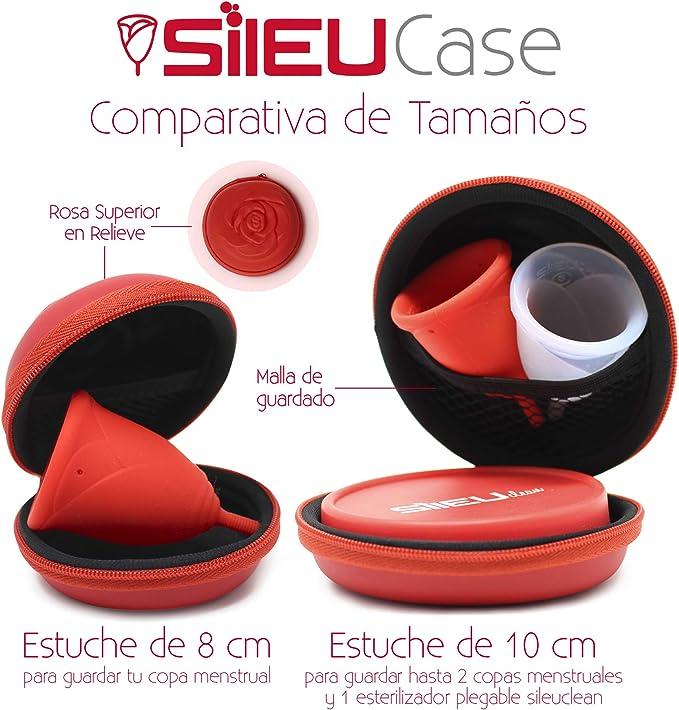 Estuche SileuCase para copas menstruales – Ideal para llevar tu tampón o copa menstrual de forma elegante y discreta en tu bolso o para viajes - Grande, 10 cm - Rosa: Amazon.es: