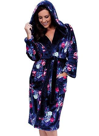 e2fdc7153b8eb Mesdames Lady Olga doux molleton imprimé floral à capuche Peignoir Marine:  Amazon.fr: Vêtements et accessoires