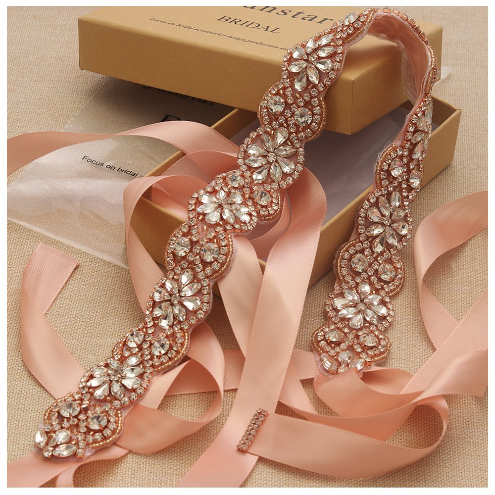 Yanstar Handmade Rose Gold Rhinestone Wedding Bridal Belts Sash Crystal Belt Blush Ribbon for Bridesmaid Prom Gowns
