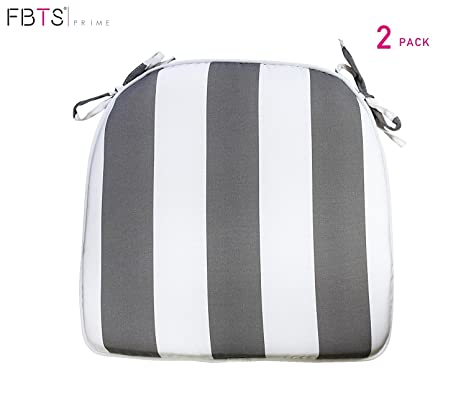 Fbts Prime Outdoor Chair Cushions Set Of 2 16x17 Inches Patio Seat Cushions Grey And White Stripe Square Chair Pads For Outdoor Patio Furniture