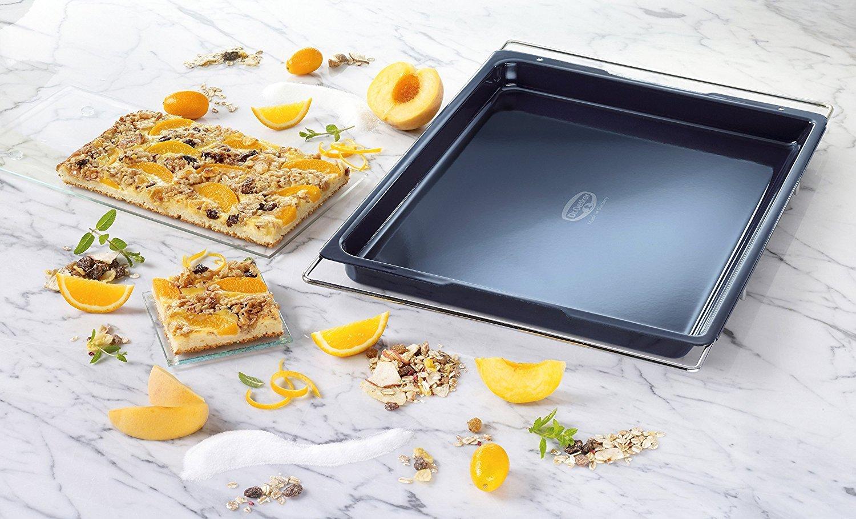 Ma/ße: 33 x 41-53 cm rechteckiges Ofenblech der Serie Back-Liebe Emaille f/ür jeden Backofen Dr verstellbar /& emailliert Oetker Backblech Emaille f/ür Kuchen /& Pizza
