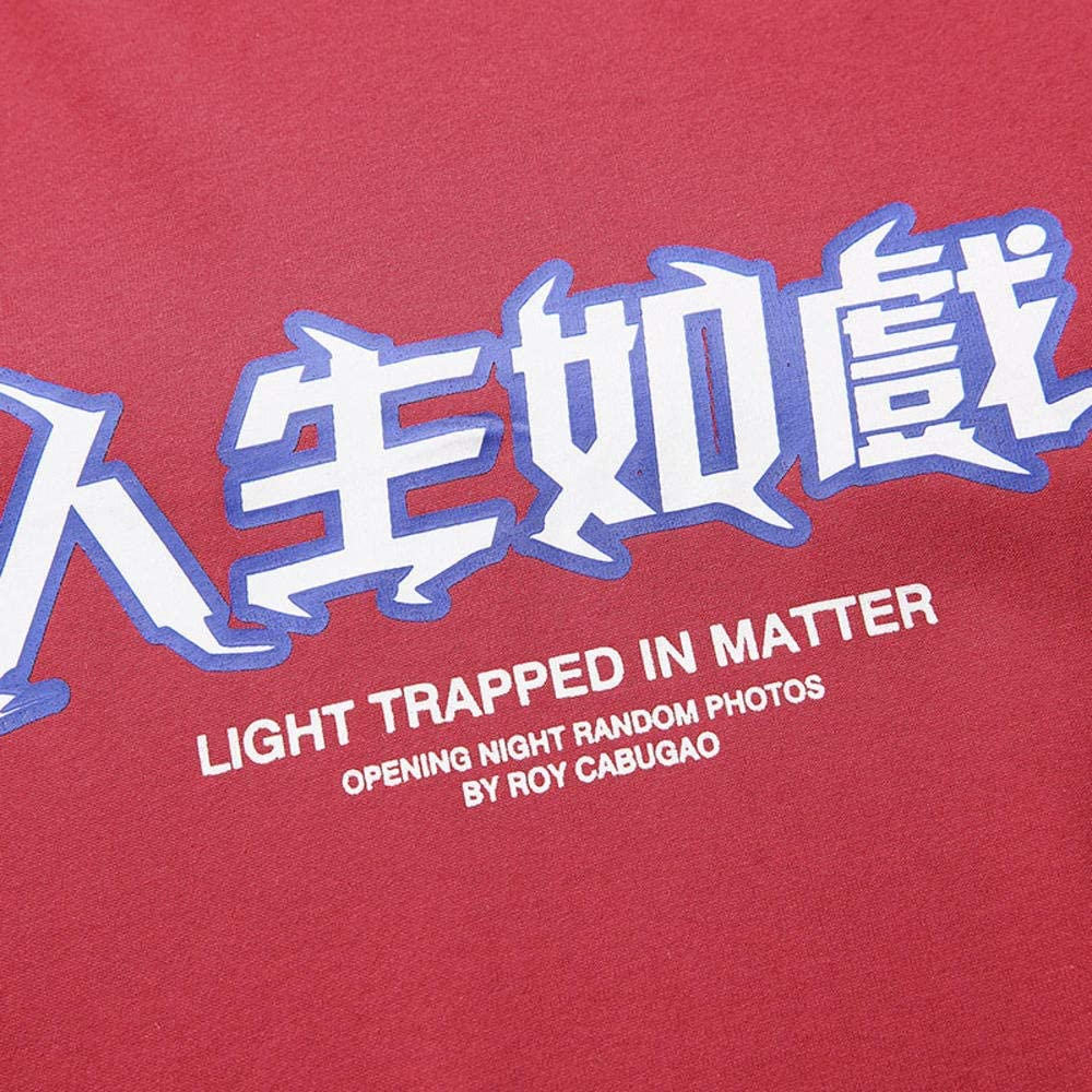 hhalibaba T-Shirt da Uomo Hip-Hop T-Shirt con Stampa Lampo Streetwear T-Shirt con Lettera Cinese Oversized Harajuku Summer Top T-Shirt Cotone