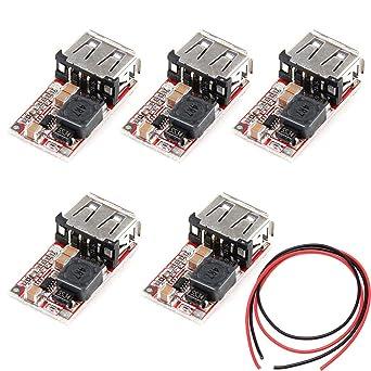 ALMOCN 5PCS DC-DC Buck Step Down Converter Module Car USB Charger 6-24V 12V//24V to 5V 3A Power Supply Voltage Regulator Module