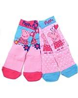 Girls Peppa Pig Two Pack Sock Ankle Socks 3-5.5 6-8 and 9-12 Summertime Peppa