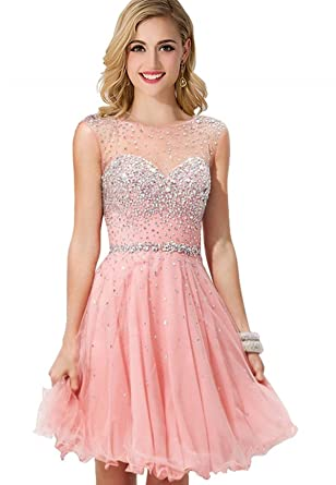 a0354c9b59 MisShow Women Crystal Open Back Short Prom Dress Cocktail Party Gowns Pink  US2