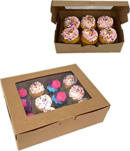 Bakery Cupcake Boxes with Clear Window. Cupcake Carrier Cupcake Container. Cake Carrier Disposable Bakery Box Brown with Insert. Set of 12 (6-6 Cup Holders / 6-12 Cup Holders).