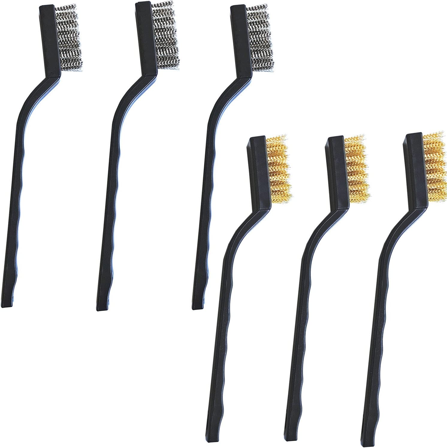 Cleaning Welding Slag Rust Scrubbing Brush 6 Pieces Scratch Wire Brushes Set Stainless Steel Brass Wire Brush for Automotive