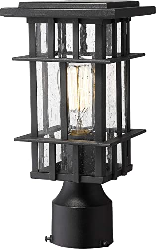 Zeyu Outdoor Post Light, 12 Inch Exterior Post Lantern for Patio Garden, Seeded Glass Shade and Black Finish, 20058P BK