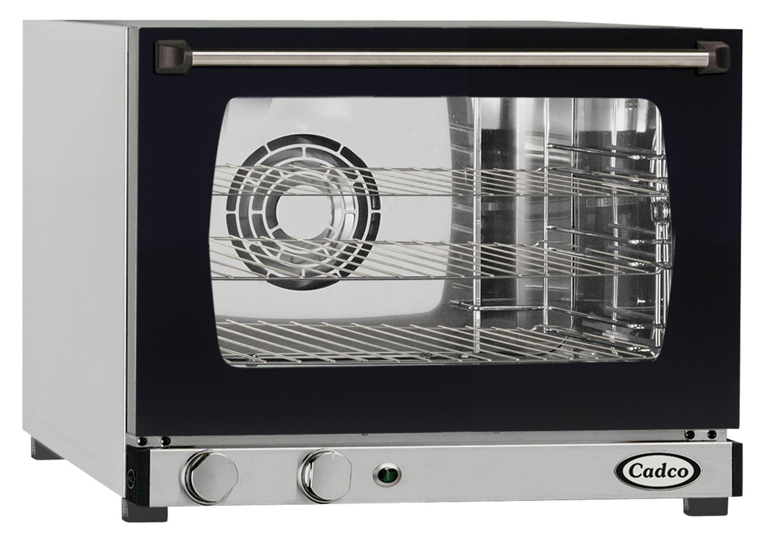 Cadco XAF-103 Quarter Size Convection Oven with Manual Controls, 120-Volt/1450-Watt, Stainless/Black
