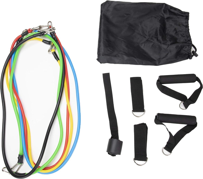 Mind Reader RBANDSET11-ASST Home Fitness Stretch Bands, Variable Tension Handles, Ankle Straps, Door Anchor, Multicolor