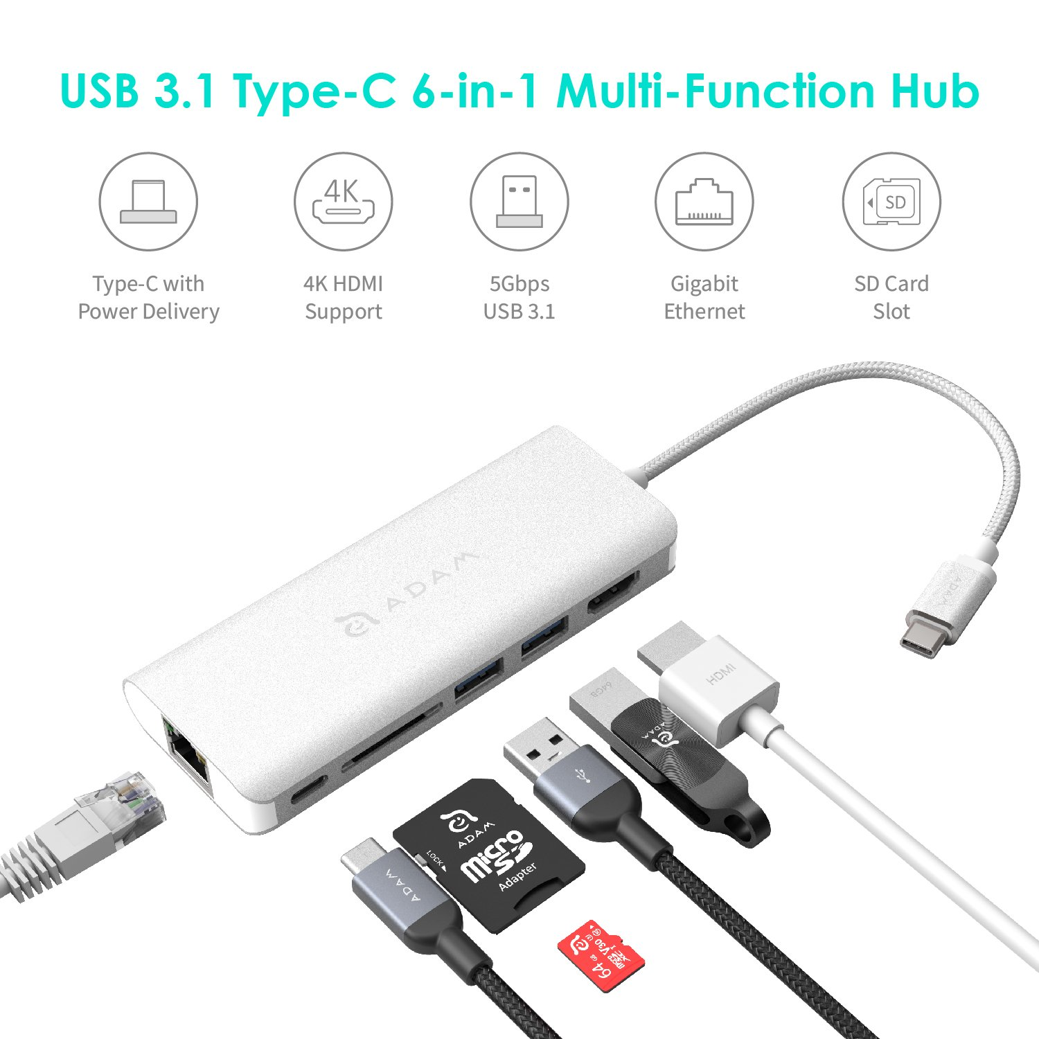 USB Type C Hub Ethernet and HDMI Adapter, with SD Card Reader, Power Charging, 2 Type A Port Compatible for Mac and Windows - Multi Use Docking Station Dongle by Adam Elements - Silver