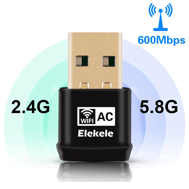 Elekele adaptateur USB Wifi adaptateur WPS adaptateur AP sans fil 2.4 GHz/ 5 GHz 600Mbps 1200Mbps pour Windows XP/ Vista/ 7/ 8/ 8.1/ 10, Linux 2.6 ou supé rieur, Mac OS X 10.6-10.12. (600 Mbps) Linux 2.6 ou supérieur EWA1002