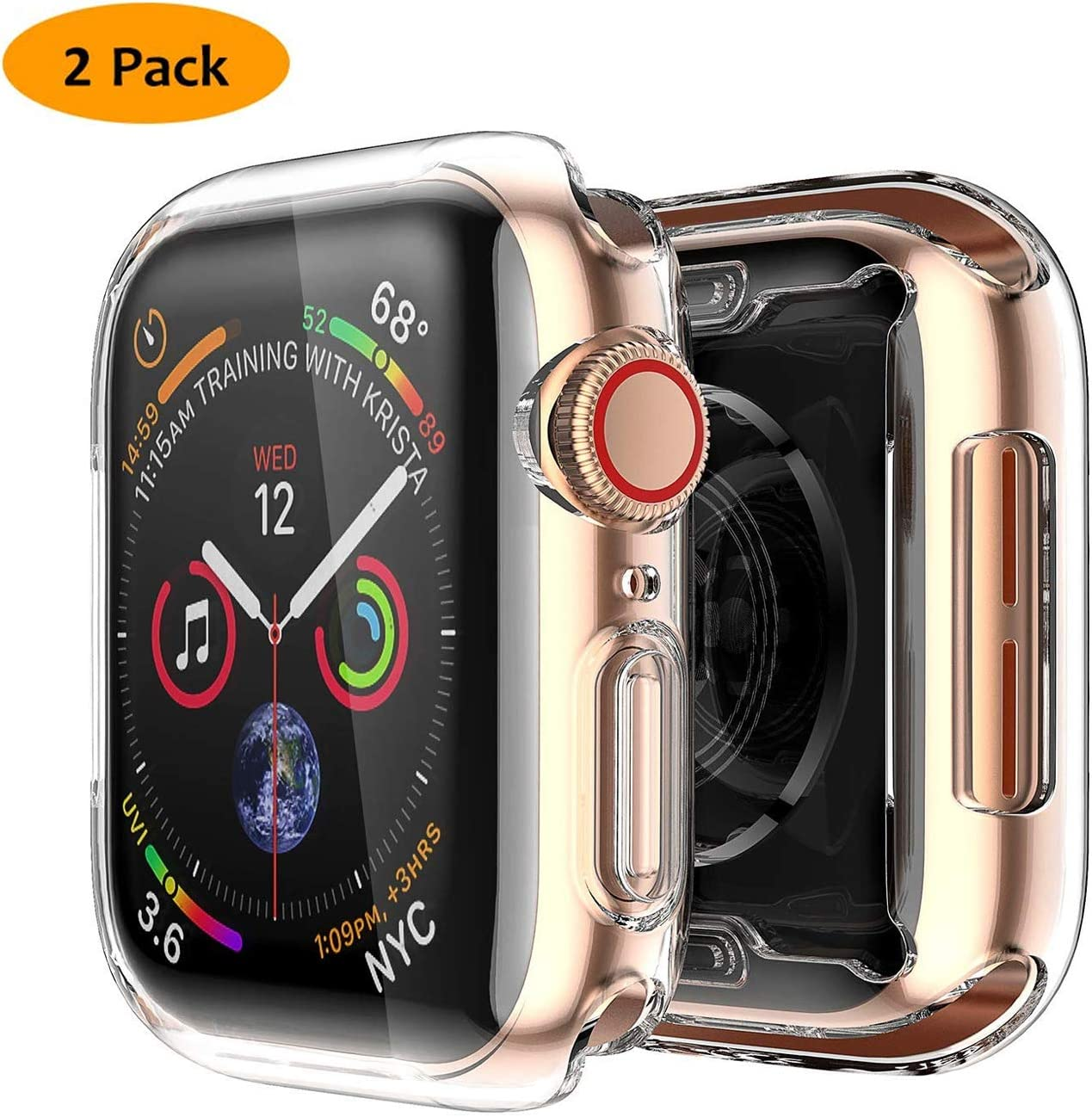 JuziTech Compatible with Apple Watch Series 4 40mm Screen Protector,TPU Full Around Protective Case High Definition Clear Ultra-Thin Cover for iwatch Series 4,2pack (Clear, 40mm)