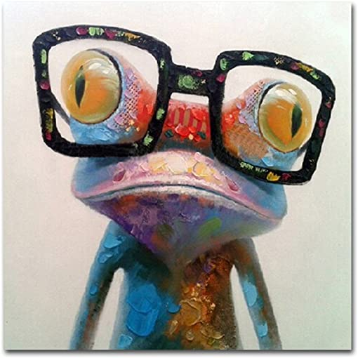 Muzagroo Art Hand Painted Oil Painting Happy Frog on Canvas for Living Room Large Size Art Stretched 32x32inch Happy Frog