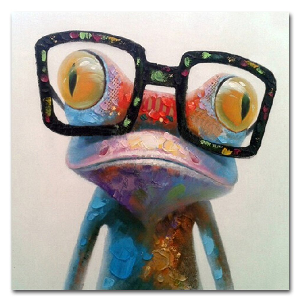 Muzagroo Art Oil Painting Hand Painted on Canvas Cute Frog with Glasses Pictures for Wall (16x16 Inch, Happy Frog) E-photos ABC123