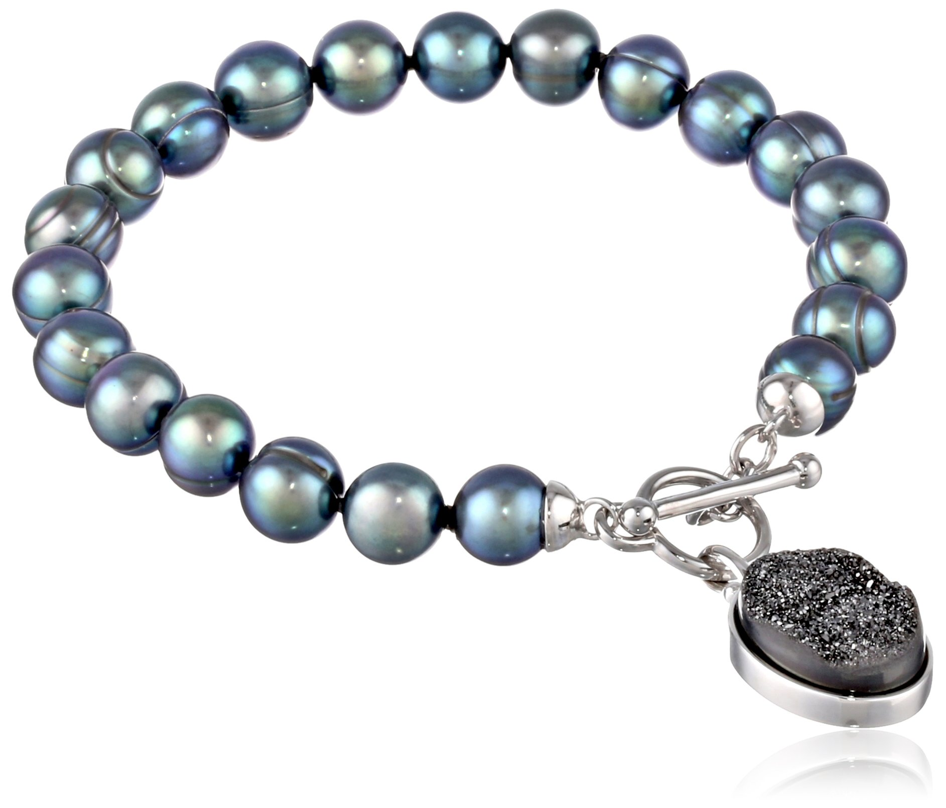 Honora ''Rock Star'' Black Freshwater Cultured Pearl and Black Agate Drusy 7.5'' Toggle Strand Bracelet
