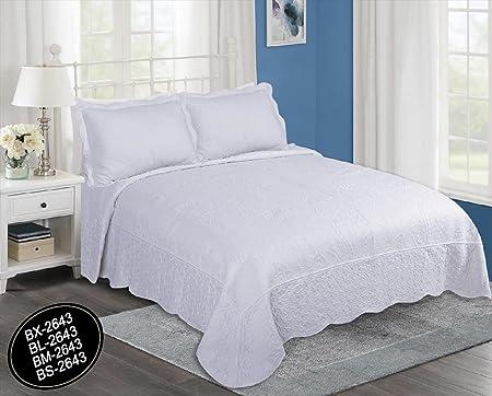 ForenTex- Colcha Boutí Cosida y Bordada, (BL-2643), cama 150 cm, 250 x 260 cm, Blanca,