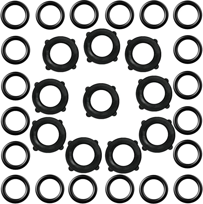 Garden Hose Washers Rubber Washers Seals, Self Locking Tabs Keep Washer Firmly Set Inside Fittings for Garden Hose and Water Faucet (30 Pieces, Washer and O Rin)
