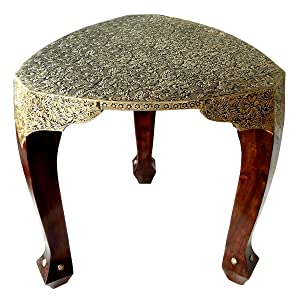 Shubham Arts Brown & Gold Color Wooden with Brass Work 3 Leg Stool