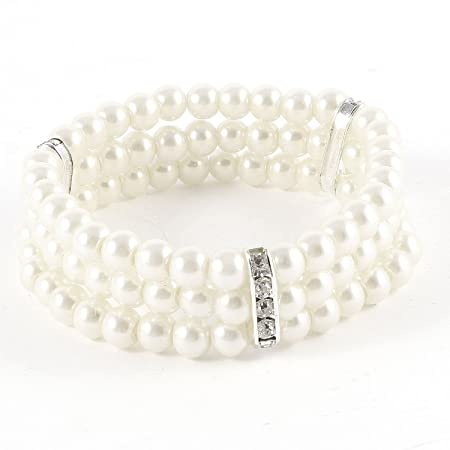 Vintage Style Jewelry, Retro Jewelry Coolrunner Ladies 3 Rows Faux Pearls Accent Off White Stretch Wrist Bracelet Jewelry $6.99 AT vintagedancer.com