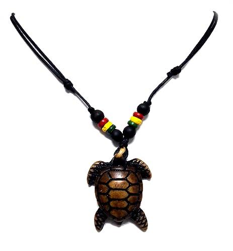 Rasta Plaided Hippie Brown Turtle Necklace Sea Turtle Necklace
