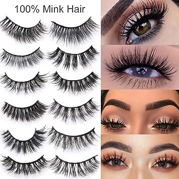 27b52c6c59d Amazon.com : Cocohot Mink Hair False Eyelashes Natural Dense Slender  Curling 3d False Lashes Makeup Tools : Beauty