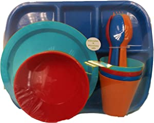 24 pc Kids Dinner Set by Mainstays, BPA free, Microwave/dishwasher safe, toddler snack/meals, mixed colors