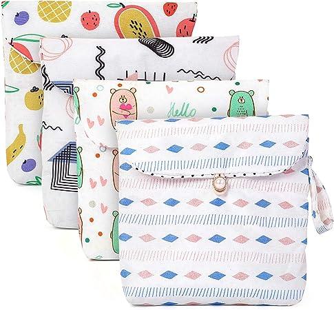 4 bolsas de almacenamiento de servilleta sanitaria, bolsa de taza menstrual son fáciles de usar y de llevar para adolescentes y mujeres.