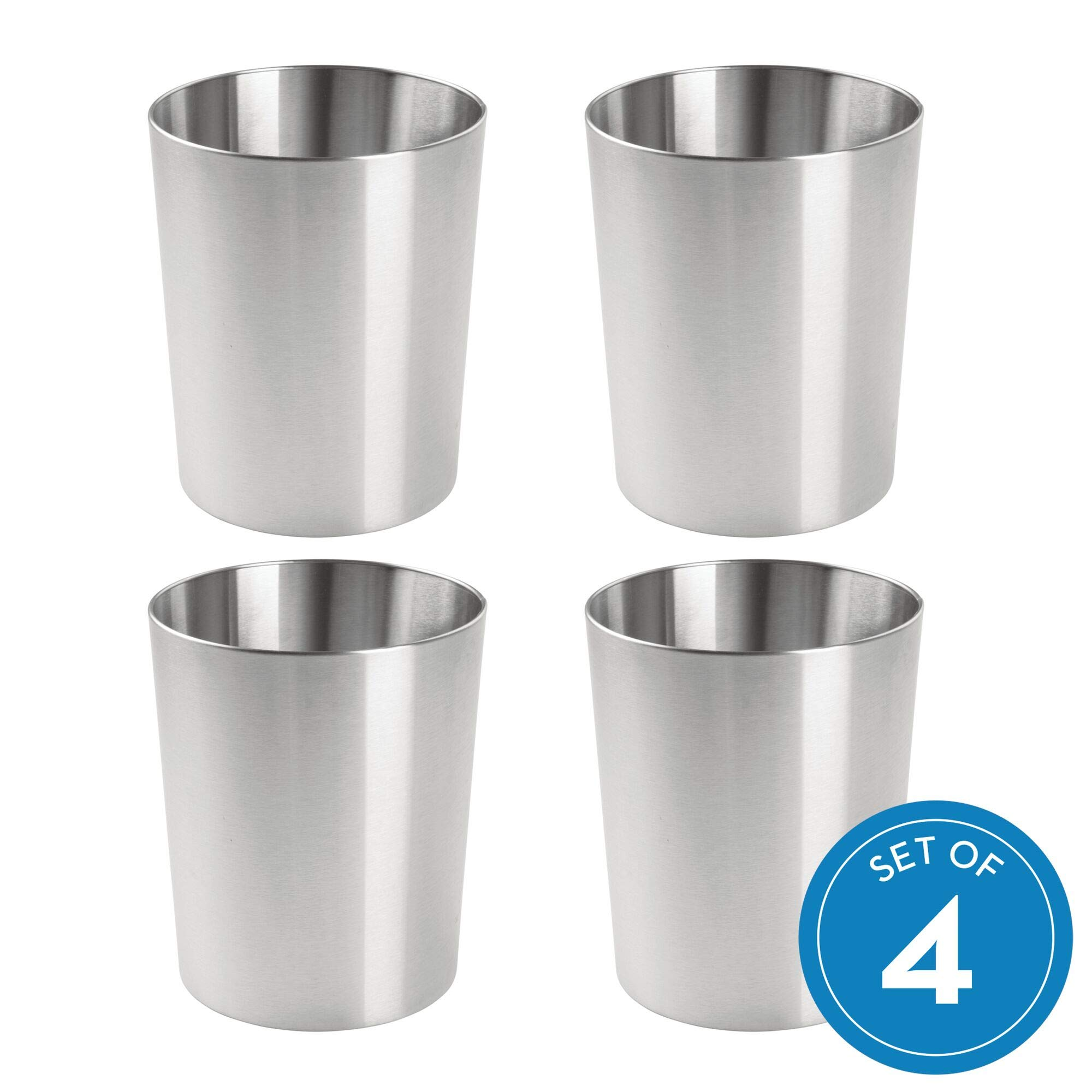 iDesign Patton Waste Can, Trash Can for Bathroom, Bedroom, Office - Brushed Stainless Steel, Pack of 4 by iDesign