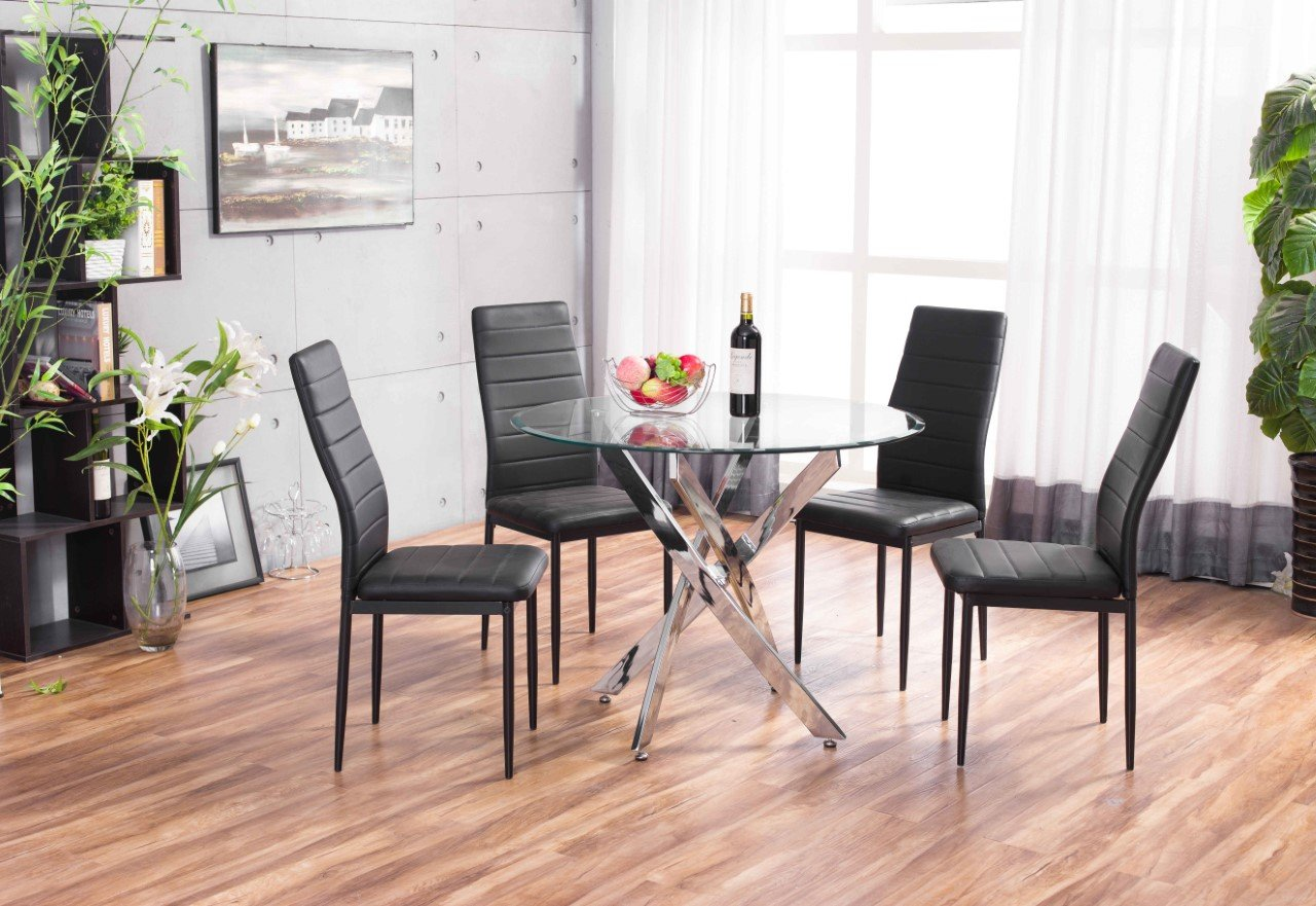 Round Dining Table New Novara Chrome Circular Glass And 4 Faux Leather
