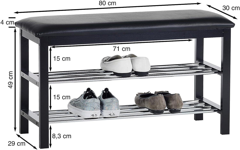 IDIMEX Meuble /à Chaussures Sana Banc avec Assise et 2 /étag/ères Rangement pour 8 Paires en Bois Massif de Coloris Blanc